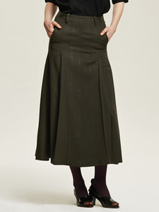 Side Pleated Maxi Skirt - 까이에